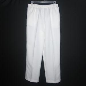 Alfred Dunner White Pull On Dress Pants
